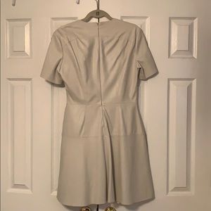 Zara Dresses - Faux Leather Cream Stitched Cream Dress